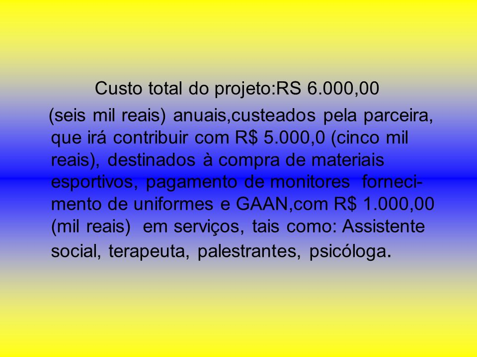 Custo total do projeto:RS 6.000,00