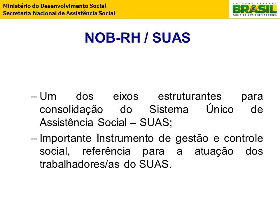 NOB-RH / SUAS Um dos eixos estruturantes para consolidação do Sistema Único de Assistência Social – SUAS;