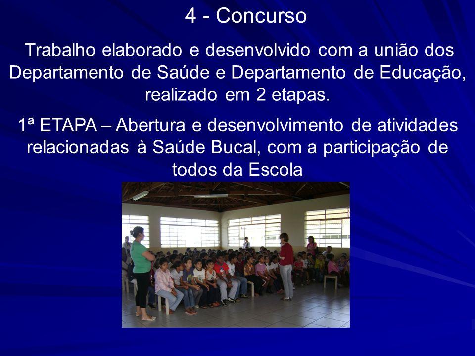 4 - Concurso Trabalho elaborado e desenvolvido com a união dos Departamento de Saúde e Departamento de Educação, realizado em 2 etapas.