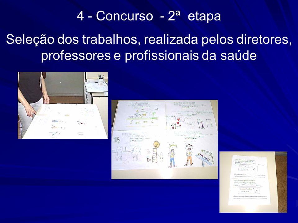 4 - Concurso - 2ª etapa Seleção dos trabalhos, realizada pelos diretores, professores e profissionais da saúde.
