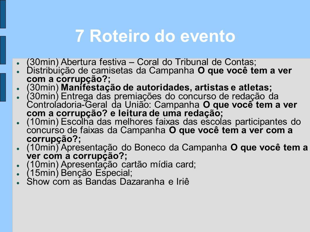 7 Roteiro do evento (30min) Abertura festiva – Coral do Tribunal de Contas;