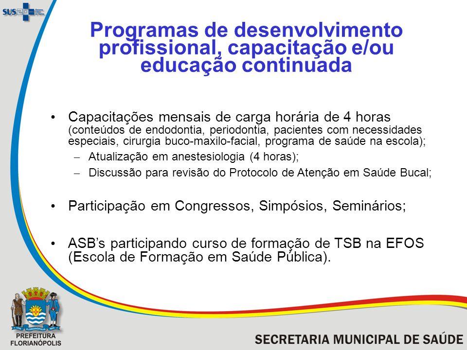 Programas de desenvolvimento profissional, capacitação e/ou educação continuada