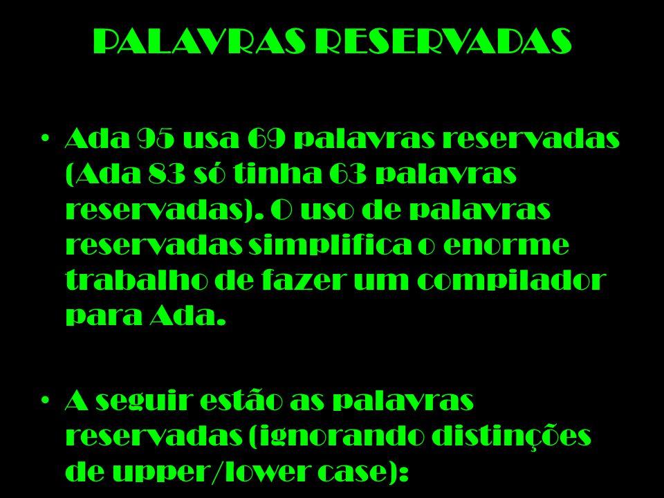 PALAVRAS RESERVADAS
