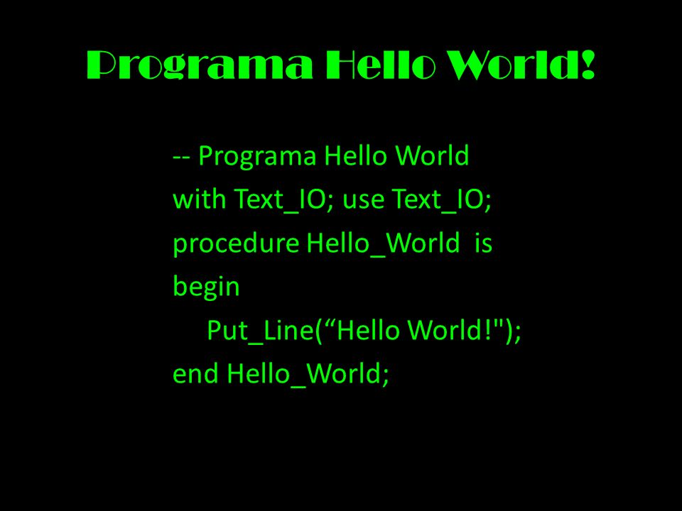 Programa Hello World.