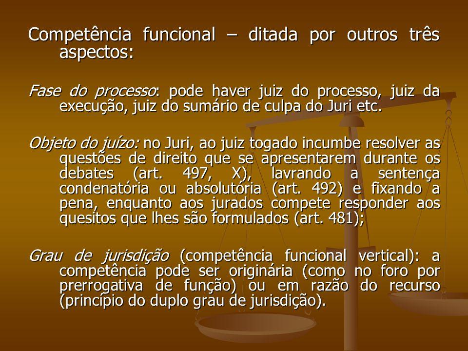 Competência funcional – ditada por outros três aspectos: