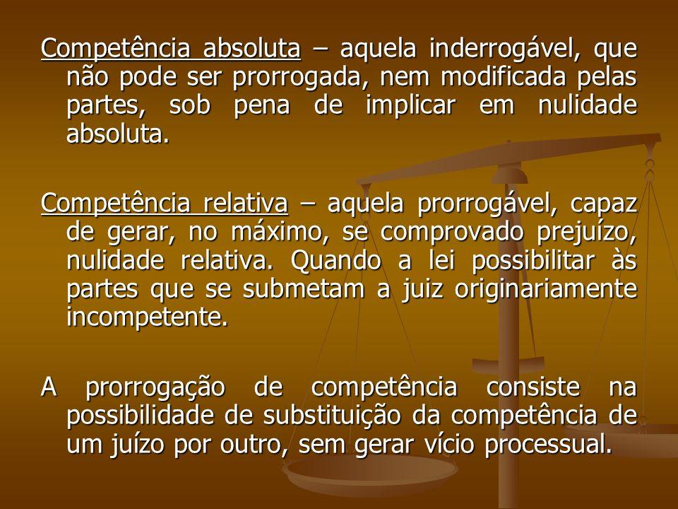 Competência absoluta – aquela inderrogável, que não pode ser prorrogada, nem modificada pelas partes, sob pena de implicar em nulidade absoluta.