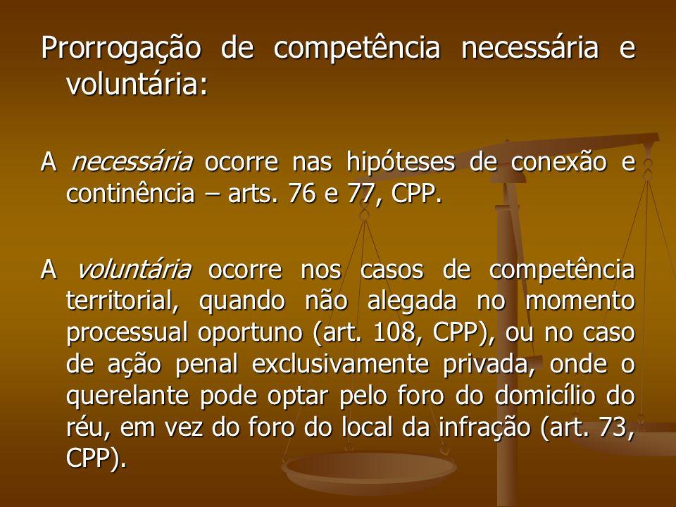 Prorrogação de competência necessária e voluntária: