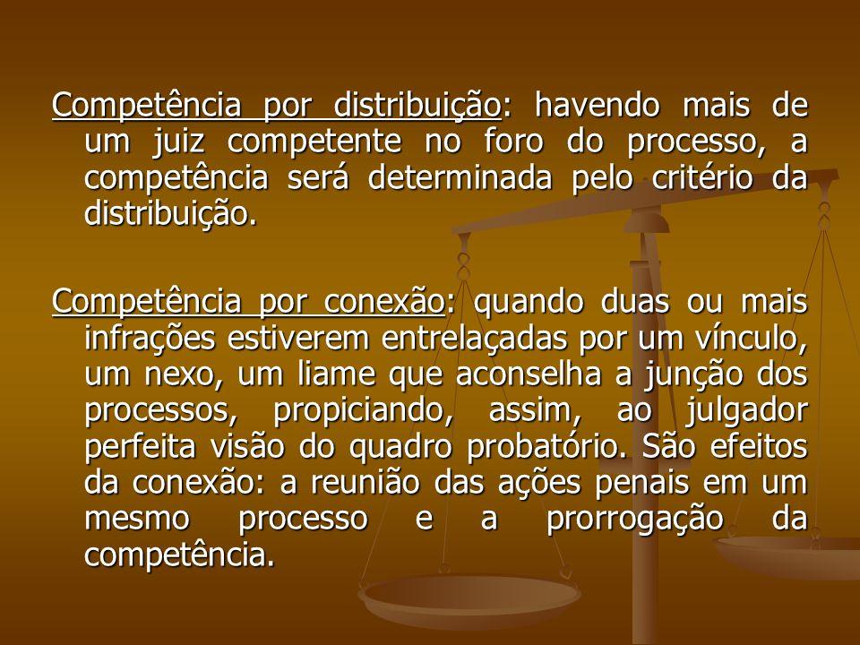 Competência por distribuição: havendo mais de um juiz competente no foro do processo, a competência será determinada pelo critério da distribuição.
