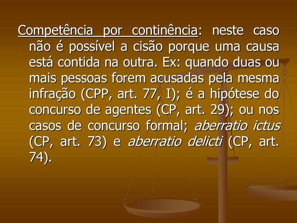 Competência por continência: neste caso não é possível a cisão porque uma causa está contida na outra.