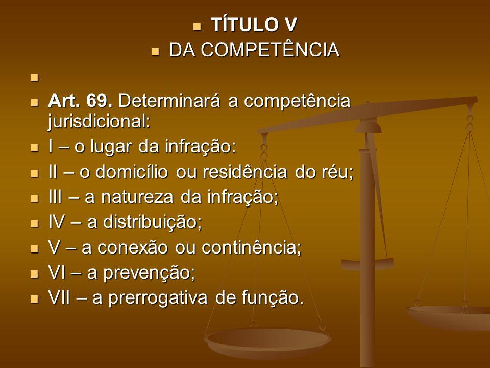 TÍTULO V DA COMPETÊNCIA. Art. 69. Determinará a competência jurisdicional: I – o lugar da infração: