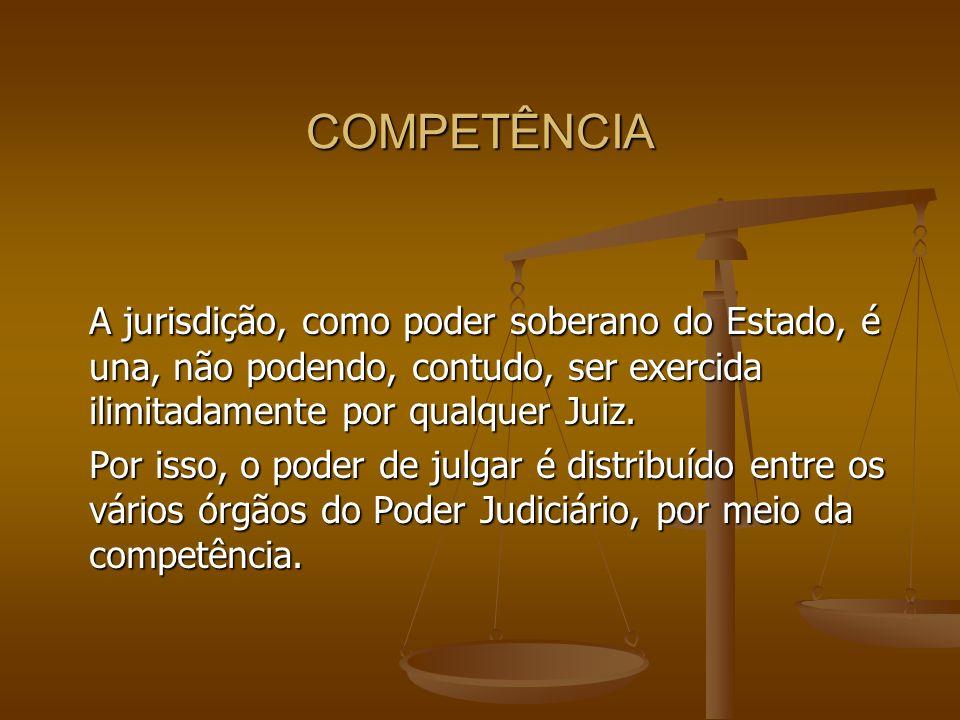 COMPETÊNCIA A jurisdição, como poder soberano do Estado, é una, não podendo, contudo, ser exercida ilimitadamente por qualquer Juiz.