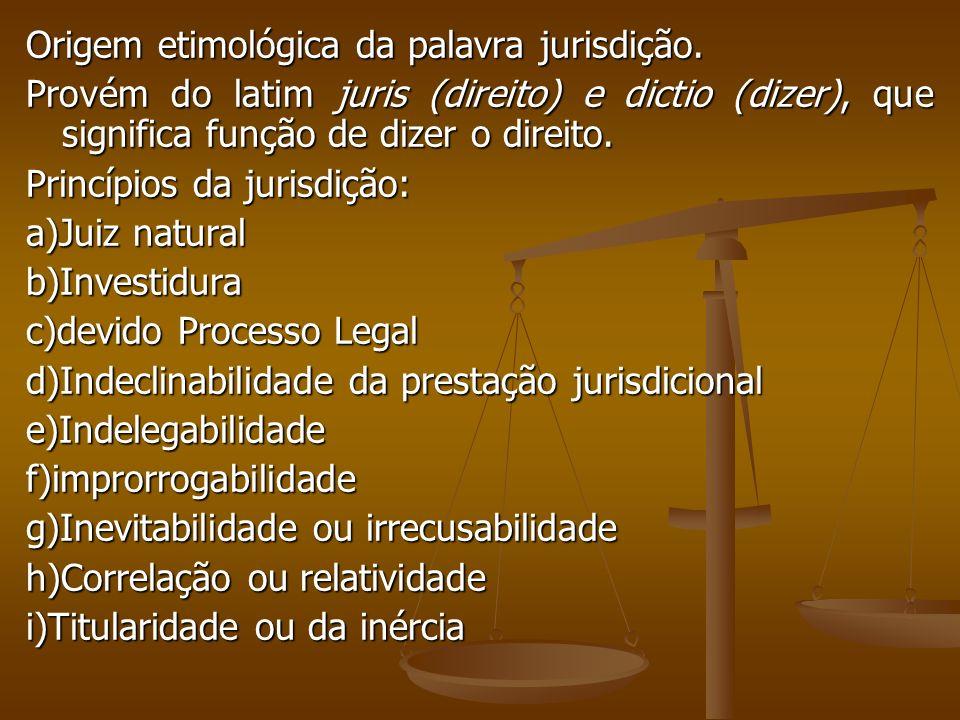 Origem etimológica da palavra jurisdição.