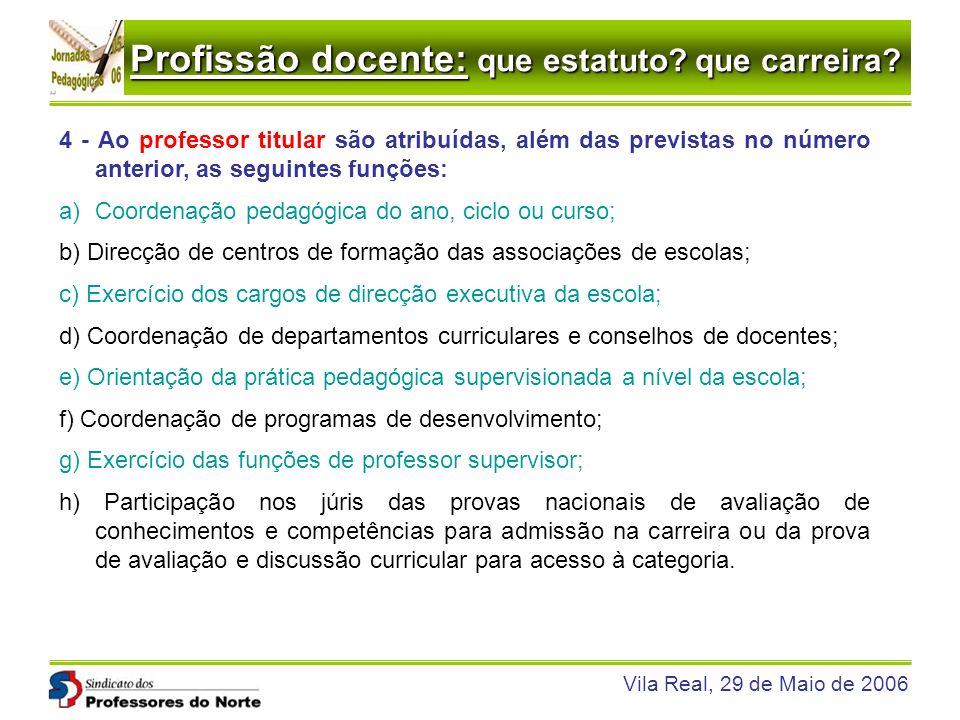 4 - Ao professor titular são atribuídas, além das previstas no número anterior, as seguintes funções: