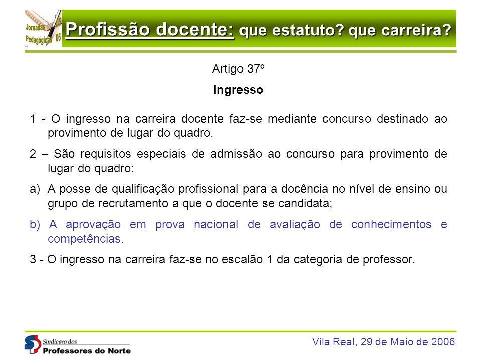 Artigo 37º Ingresso. 1 - O ingresso na carreira docente faz-se mediante concurso destinado ao provimento de lugar do quadro.