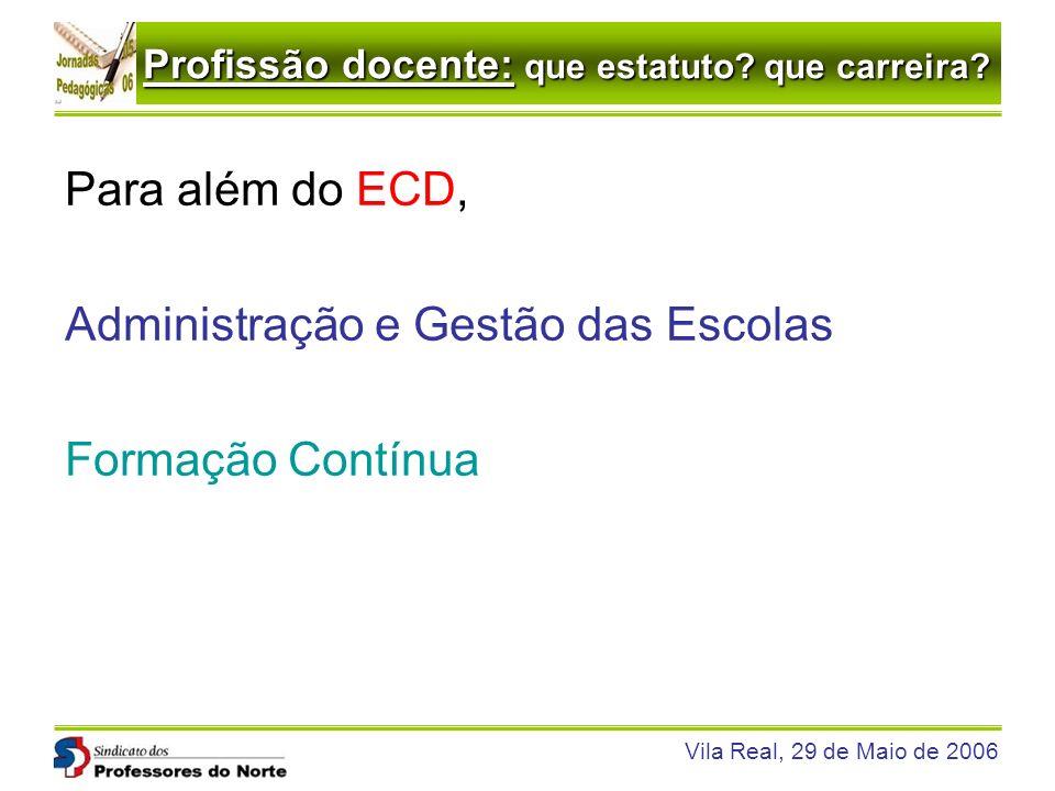 Para além do ECD, Administração e Gestão das Escolas Formação Contínua