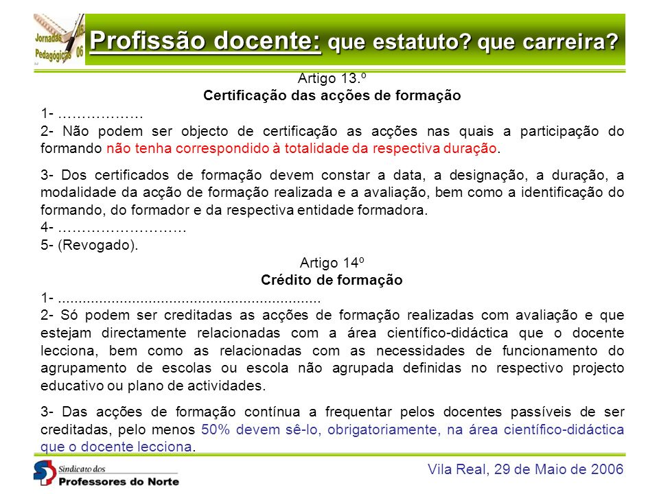 Certificação das acções de formação