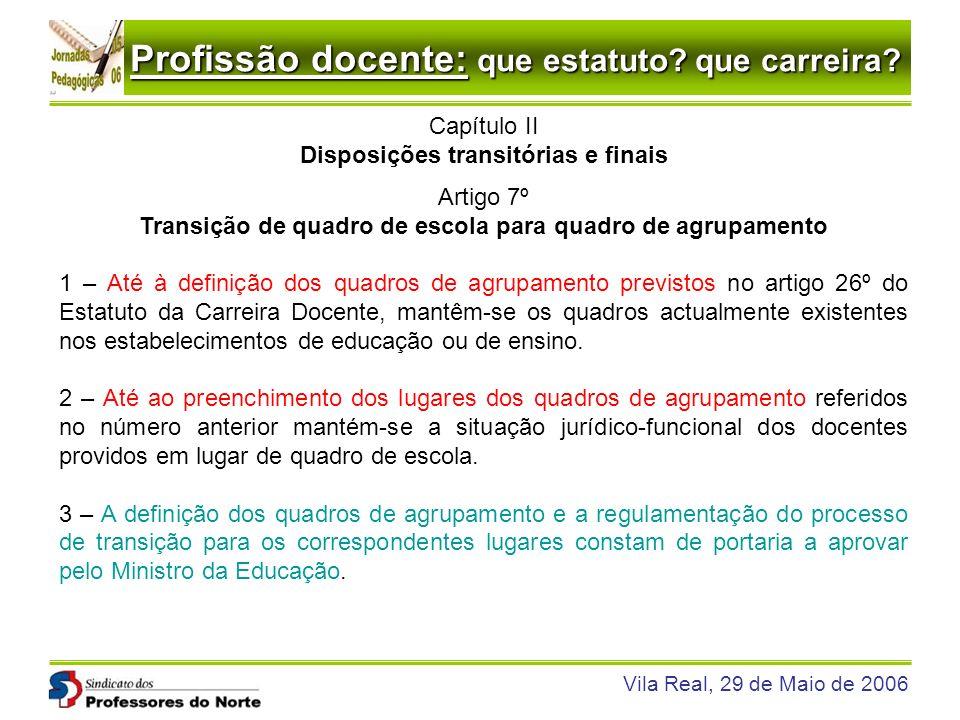 Disposições transitórias e finais Artigo 7º