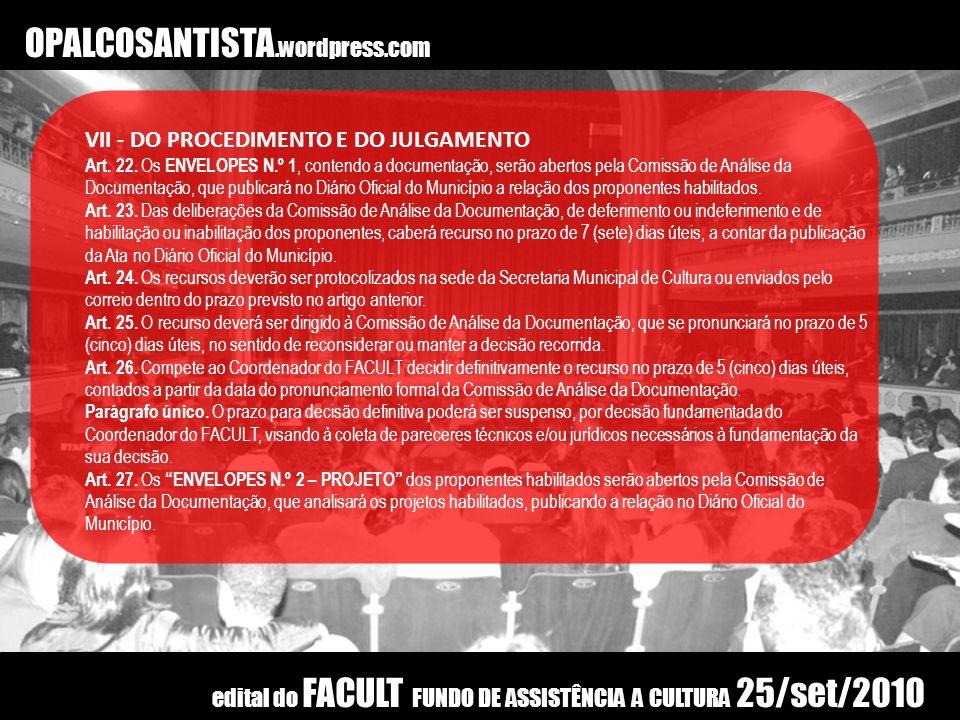 OPALCOSANTISTA.wordpress.com VII - DO PROCEDIMENTO E DO JULGAMENTO