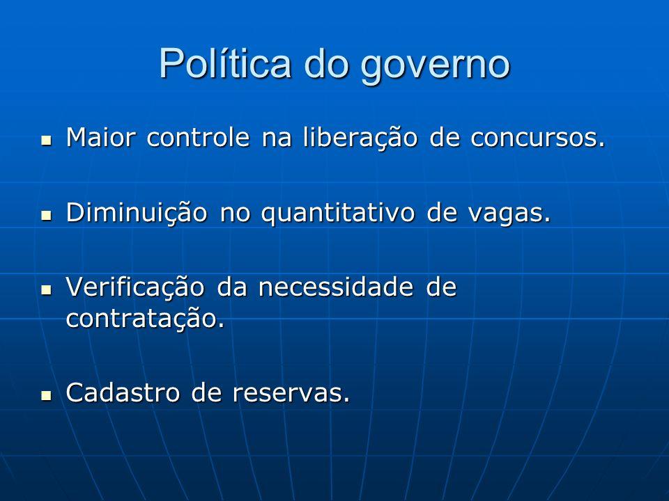 Política do governo Maior controle na liberação de concursos.