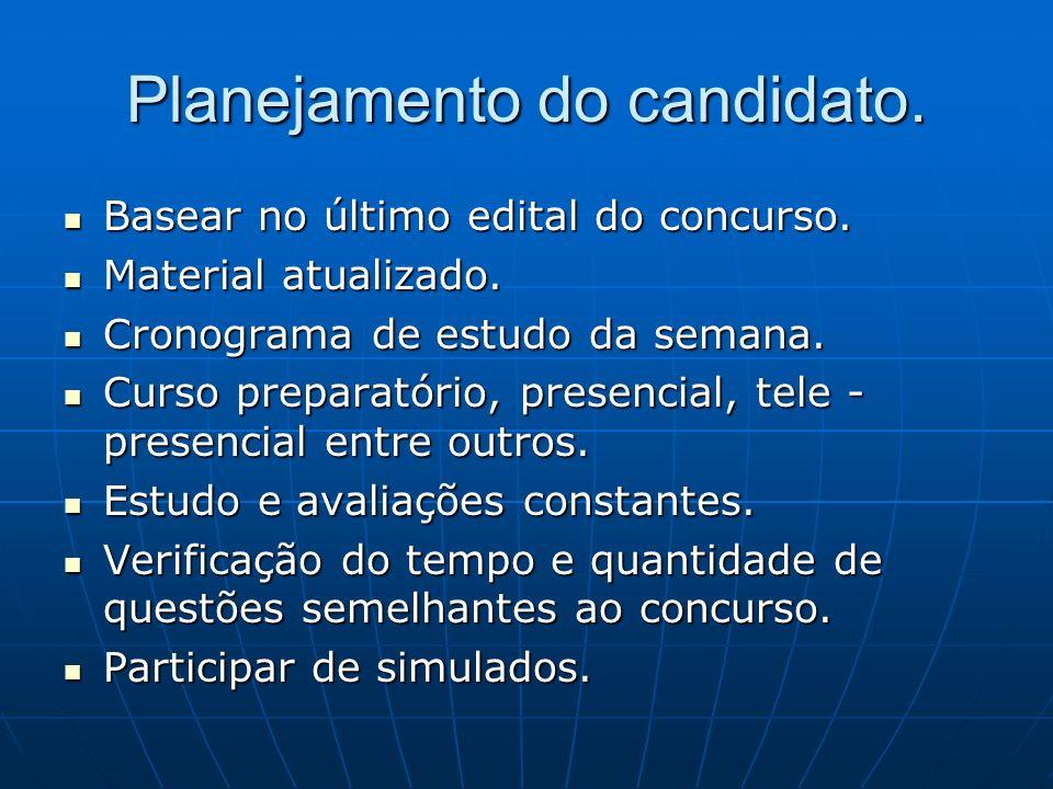 Planejamento do candidato.