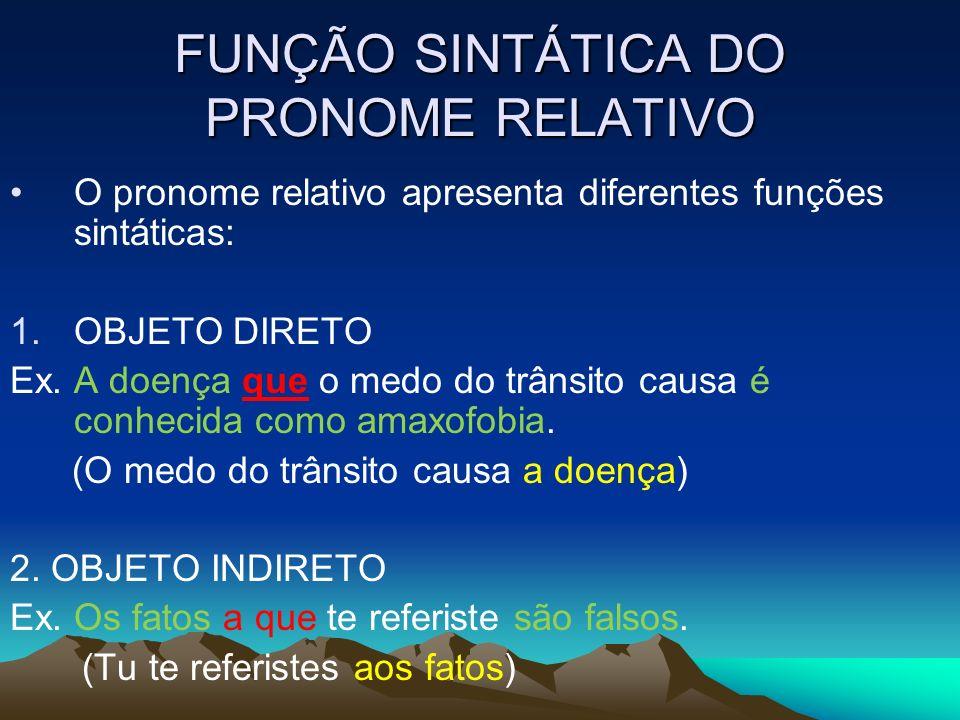 FUNÇÃO SINTÁTICA DO PRONOME RELATIVO