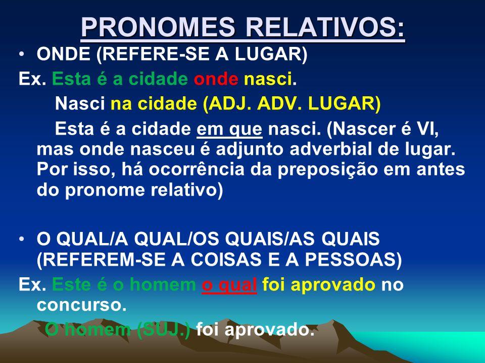 PRONOMES RELATIVOS: ONDE (REFERE-SE A LUGAR)