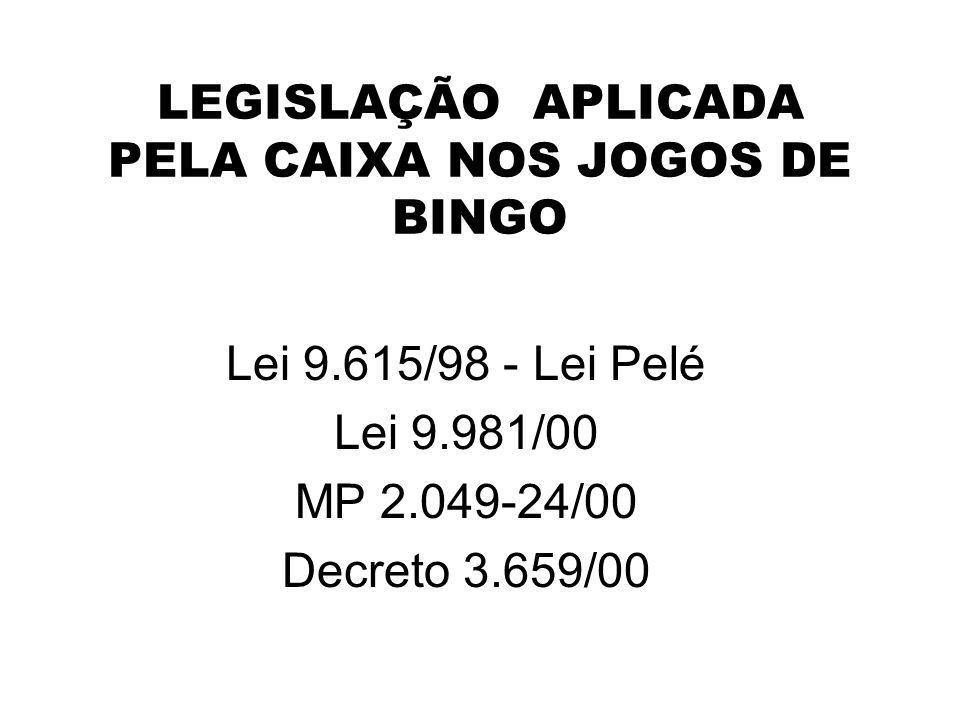 LEGISLAÇÃO APLICADA PELA CAIXA NOS JOGOS DE BINGO