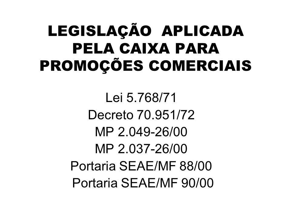 LEGISLAÇÃO APLICADA PELA CAIXA PARA PROMOÇÕES COMERCIAIS