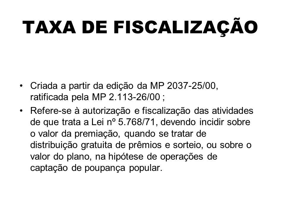 TAXA DE FISCALIZAÇÃO Criada a partir da edição da MP 2037-25/00, ratificada pela MP 2.113-26/00 ;