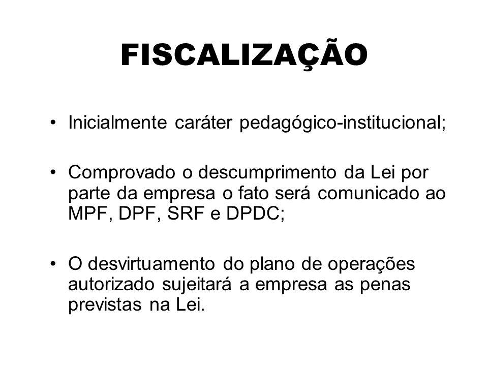 FISCALIZAÇÃO Inicialmente caráter pedagógico-institucional;