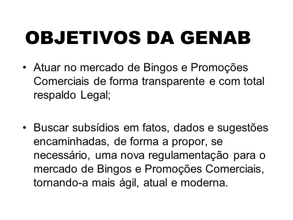 OBJETIVOS DA GENAB Atuar no mercado de Bingos e Promoções Comerciais de forma transparente e com total respaldo Legal;
