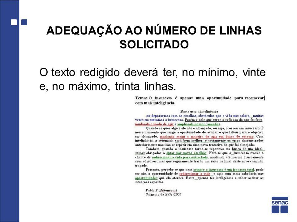 ADEQUAÇÃO AO NÚMERO DE LINHAS SOLICITADO