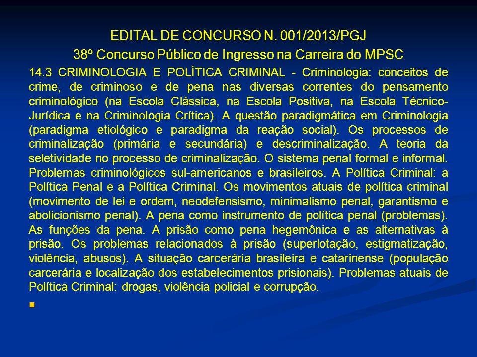 EDITAL DE CONCURSO N. 001/2013/PGJ