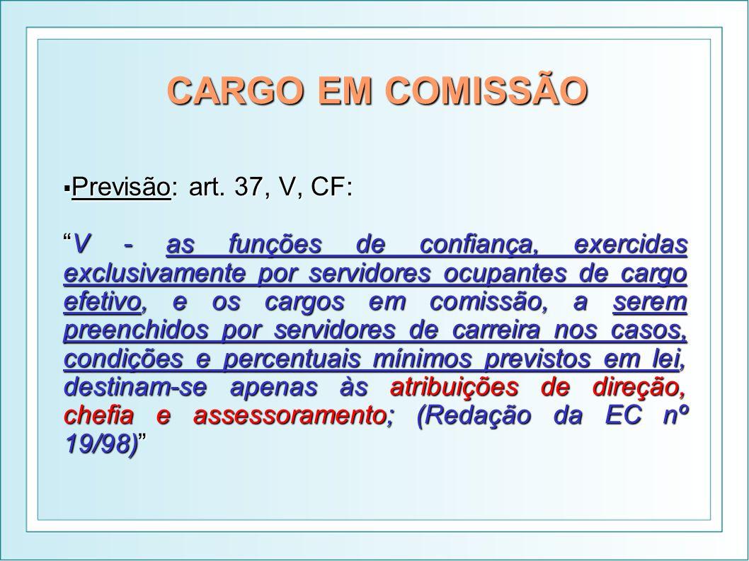 CARGO EM COMISSÃO Previsão: art. 37, V, CF: