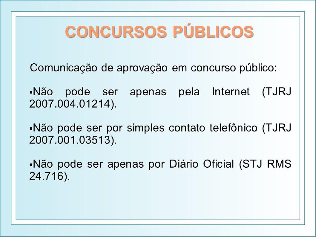 CONCURSOS PÚBLICOS Comunicação de aprovação em concurso público: