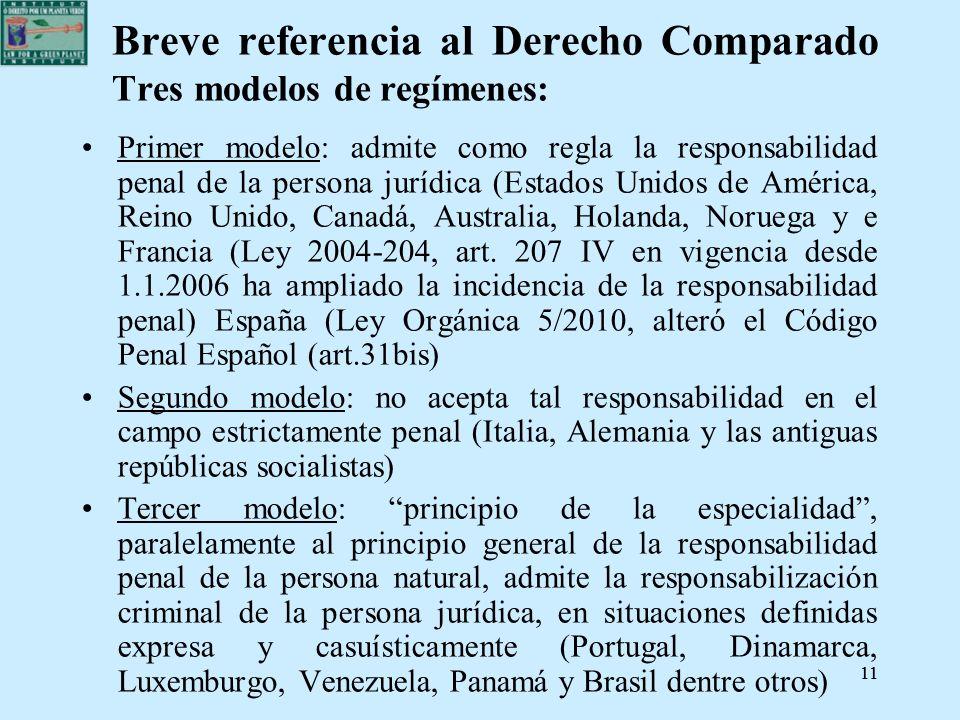 Breve referencia al Derecho Comparado Tres modelos de regímenes: