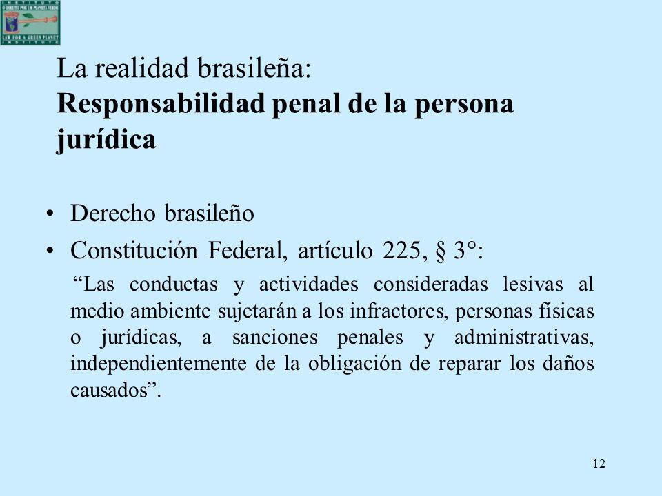 La realidad brasileña: Responsabilidad penal de la persona jurídica
