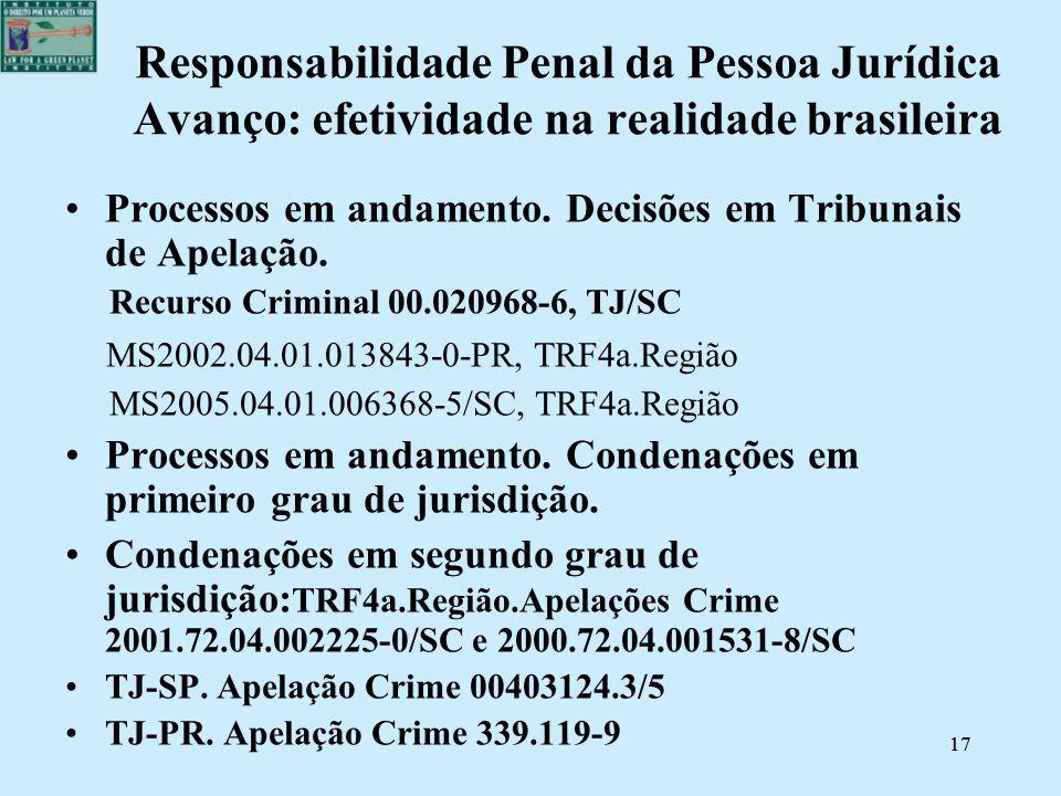 Responsabilidade Penal da Pessoa Jurídica Avanço: efetividade na realidade brasileira