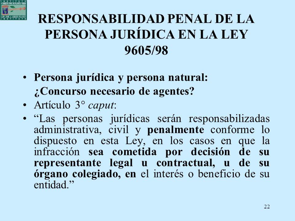 RESPONSABILIDAD PENAL DE LA PERSONA JURÍDICA EN LA LEY 9605/98