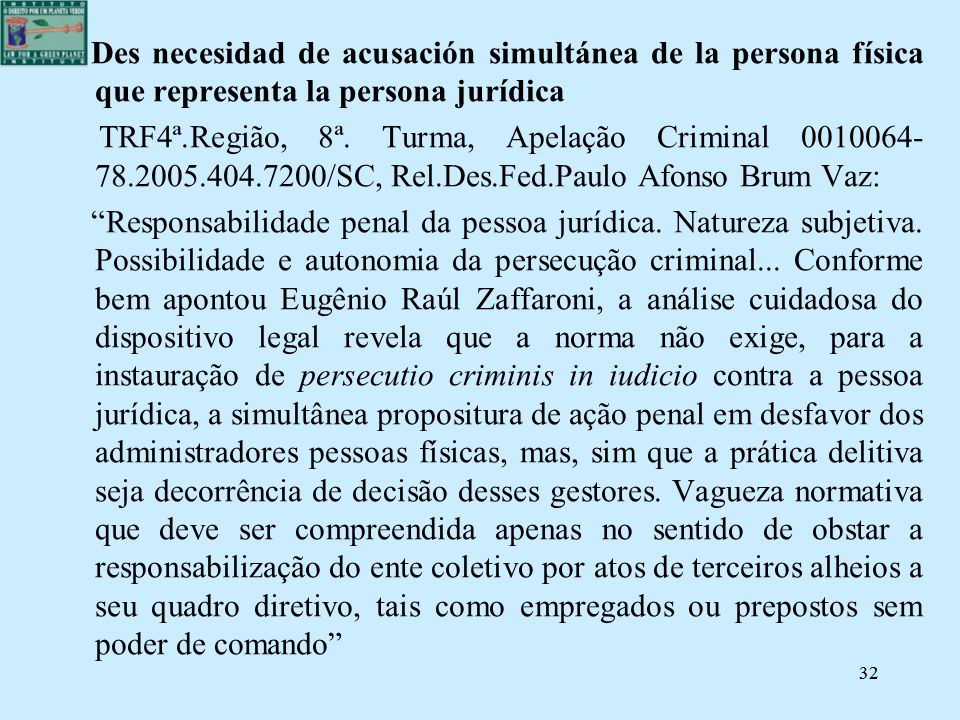 Des necesidad de acusación simultánea de la persona física que representa la persona jurídica