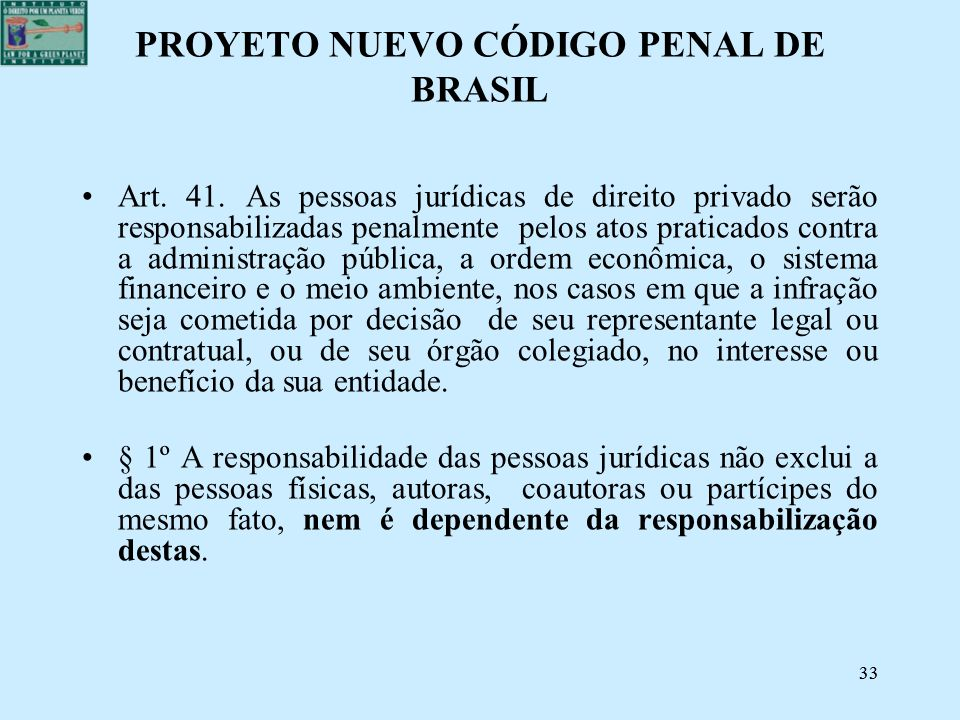 PROYETO NUEVO CÓDIGO PENAL DE BRASIL