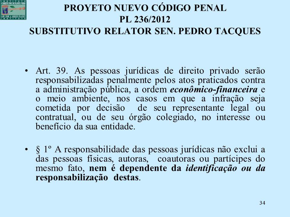 PROYETO NUEVO CÓDIGO PENAL PL 236/2012 SUBSTITUTIVO RELATOR SEN