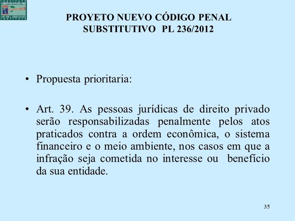PROYETO NUEVO CÓDIGO PENAL SUBSTITUTIVO PL 236/2012
