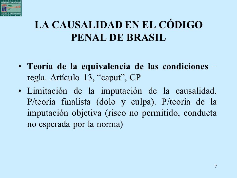 LA CAUSALIDAD EN EL CÓDIGO PENAL DE BRASIL