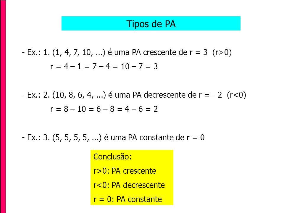 Tipos de PA - Ex.: 1. (1, 4, 7, 10, ...) é uma PA crescente de r = 3 (r>0) r = 4 – 1 = 7 – 4 = 10 – 7 = 3.