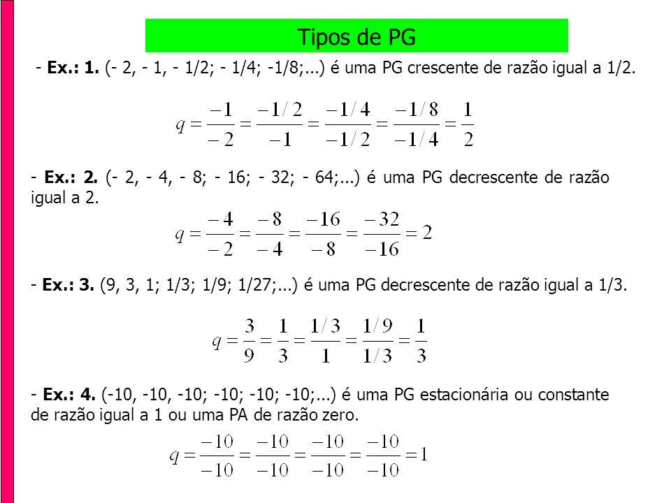 Tipos de PG - Ex.: 1. (- 2, - 1, - 1/2; - 1/4; -1/8;...) é uma PG crescente de razão igual a 1/2.