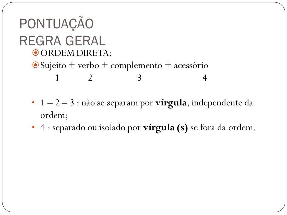 PONTUAÇÃO REGRA GERAL ORDEM DIRETA: