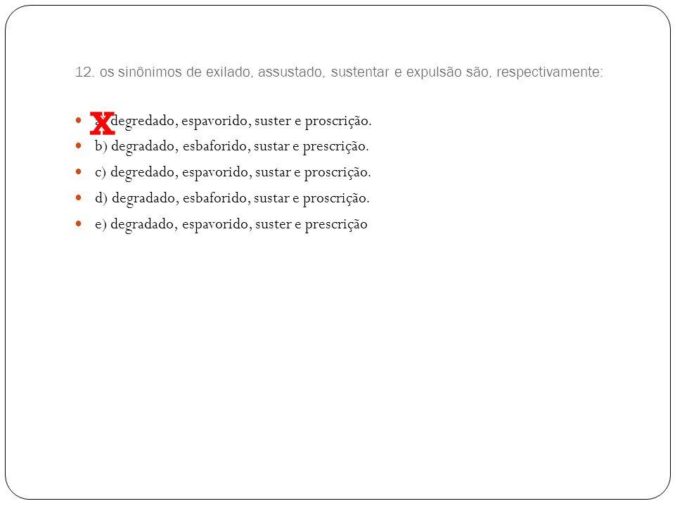 X a) degredado, espavorido, suster e proscrição.