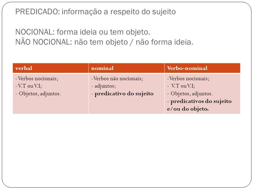 PREDICADO: informação a respeito do sujeito NOCIONAL: forma ideia ou tem objeto. NÃO NOCIONAL: não tem objeto / não forma ideia.
