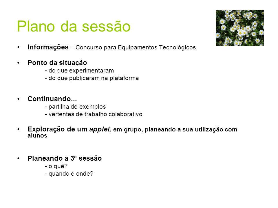 Plano da sessão Informações – Concurso para Equipamentos Tecnológicos